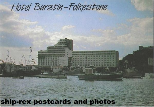Folkestone fishing fleet and Hotel Burstin - postcard